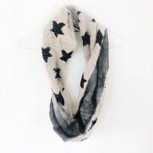 AEO Ivory w/ Black Stars Infinity Scarf